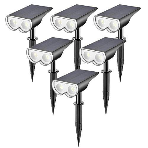 Linkind 16 LEDs Solar Landscape Spotlights, Dusk-to-Dawn...