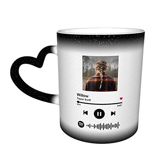 Taza de café de cerámica con código Spotify personalizada, taza de cerámica sensible al calor con impresión DIY, taza de café con cambio de color sensible al calor personalizada