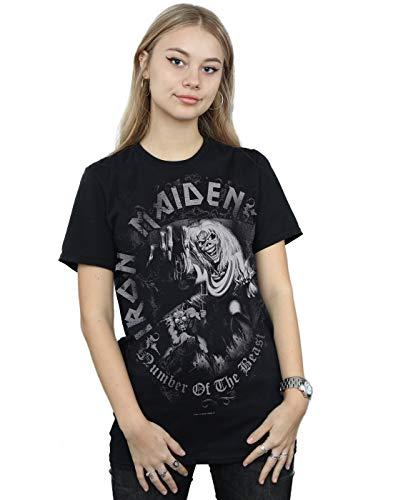 Absolute Cult Iron Maiden Mujer Number of The Beast Greytone Camiseta del...