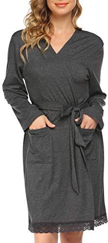 Pinspark Nachthemd Damen Bademantel Leichter Morgenmantel Langarm Baumwolle Nachtwäsche Kimono Spitze Robemantel mit Taschen Dunkelgrau L