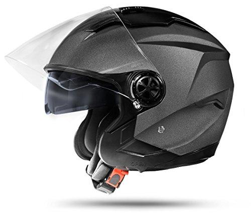 ATO Moto LA Street Jet Helm Grau Größe: XL 61cm Doppelvisier System + Integrierte Visiermechanik 4 punkt Belüftung und neuste Sicherheitsnorm ECE 2205