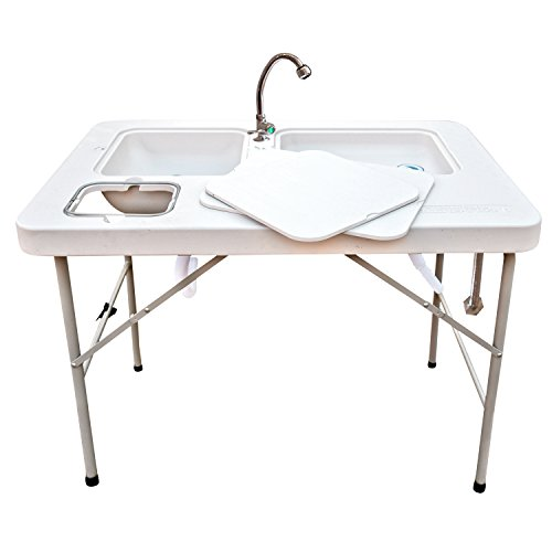 Coldcreek Outfitters Outdoor Washing Table and Sink, Portable and Foldable, Large Dual-Sink Design