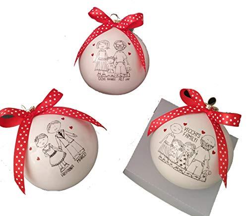LA MIA FAMIGLIA del CUORE regalo personalizzato con disegno PALLA TARGA MATTONELLA sposi nonni (PALLA 8CM PERS)
