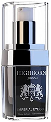 Natural Superior Anti Ageing Eye Gel for Dark Circles and Puffy Eyes - HighBorn London's Best Luxury Skincare to Reduce Wrinkles, Bags, Saggy Skin & Puffiness - High Quality Natural Formula - Including Retinol, Matrixyl, Marine Collagen (from seaweed), Ar