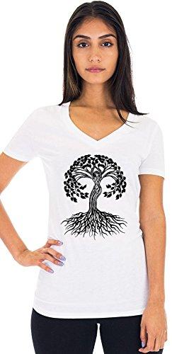 Ladies Black Celtic Tree Hemp/Organic Cotton V-Neck Tee, Medium Snowflake
