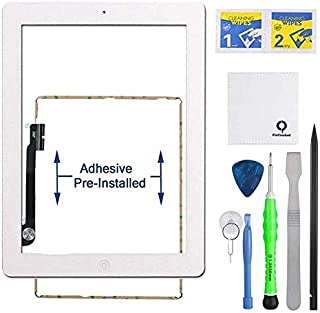 Fixcracked Touch Screen Replacement Parts Digitizer Glass Assembly for Ipad 4 + Professional Tool Kit (White)