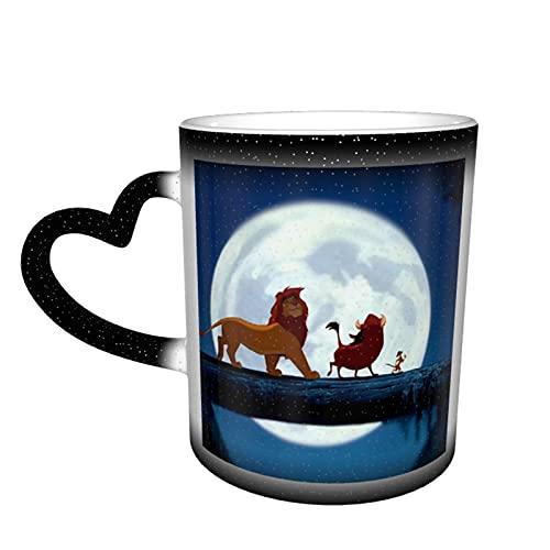 Tazas de té de cerámica con diseño de Rey León, color cambiante de novedad familiar amantes, amigos, oficina, regalo de cumpleaños