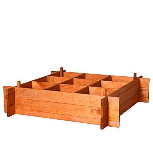 PLANTAWA Suelo de Huerto Urbano, Suelo de 9 Departamentos, Madera de Pino, Mesa de Cultivo sin Patas, 20 x 100 x 100 cm
