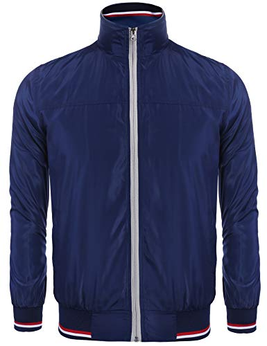 COOFANDY-New-Men-Casual-High-Neck-Thin-Striped-Lightweight-Slim-Long-Sleeve-Bomber-Jacket-Blue