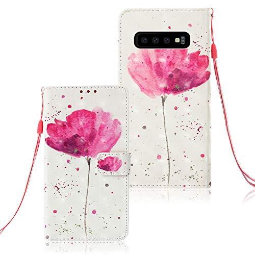Huphant kompatibel mit Samsung Galaxy S10 Handyhülle Glitzer Leder Hülle Wallet Flip Schutzhülle Tasche mit Samsung Galaxy S10 Kartenfach Geldklammer Ständer Kartenfächer Magnet -Lila Orchidee