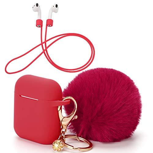 OOTSR Custodia Protettiva e Portachiavi con Pompon Carino Compatibile per Custodia Apple AirPods, Custodia Protettiva in Silicone e Cinturino Anti-Perso per Apple AirPods (Rosso)