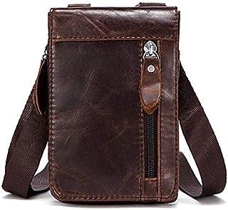 YXHM AU Men's Retro Fanny Pack Genuine Leather Men's Small Bag (Color : Oil Coffee)