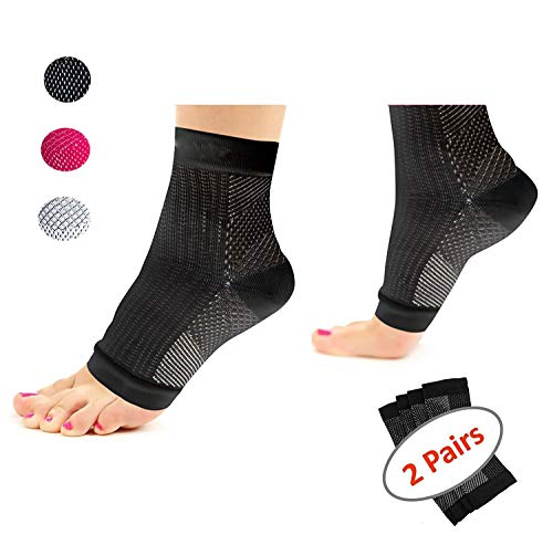 Plantar Fasciitis Socks (2 Pairs ) Foot Compression Sleeves Eases Heel Spurs Swelling, Ankle Brace Support, Increases Circulation, Relieve Pain Fast