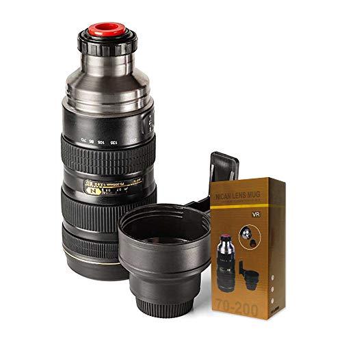 mikamax - Thermoskanne Kameraobjektiv - Extra Large Ø 8 x 24 Zentimeter - Schwarz – Kaffeebecher - Unterwegs Tasse