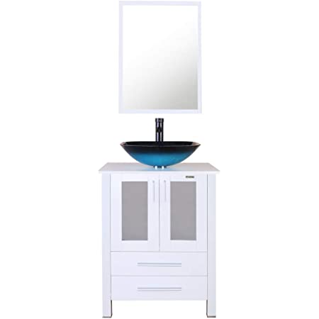 Amazon Com Eclife 24 Bathroom Vanity And Sink Combo White Small Vanity Turquoise Square Tempered Glass Vessel Sink 1 5 Gpm Water Save Faucet Solid Brass Pop Up Drain With Mirror A10b02w