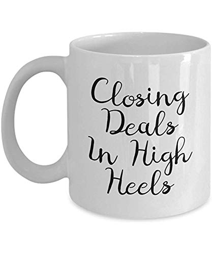 Grappige Makelaar Koffie Mok - Real Estate Agent Gift - Real Estate Broker Present - Sluitende aanbiedingen in High Heels