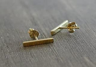 Minimalist Staple Gold Plated Sterling Silver Dainty Bar Linear Stick Stud Earrings