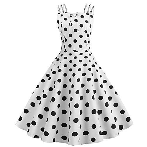 Auifor Dames wijnoogst-prinses Dot Printed Cocktail Oaanzet verband-Feestje Aline Dress