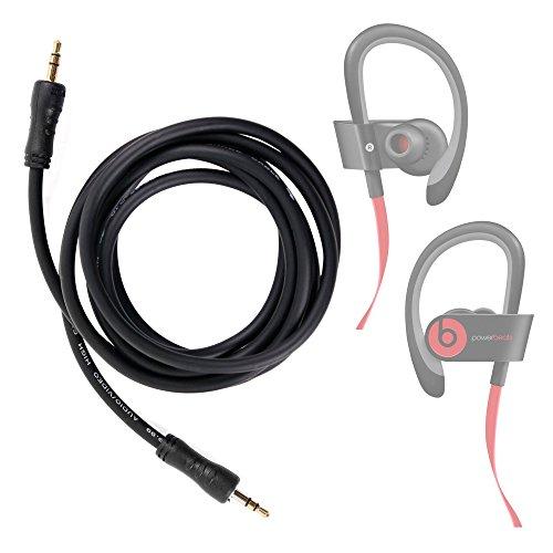 DURAGADGET Cable De Audio para Beats Power2 | Power3 | Powerbeats2 | Powerbeats3 - Auriculares in-Ear - Entrada de 3.5mm Y Bañado En Oro