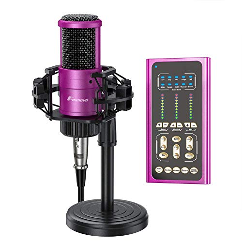 Condenser Microphone with Sound Card:FOXNOVO Voice Changer Sound Card with 9 Sound Effects for Broadcasting/Recording/YouTube/Gaming