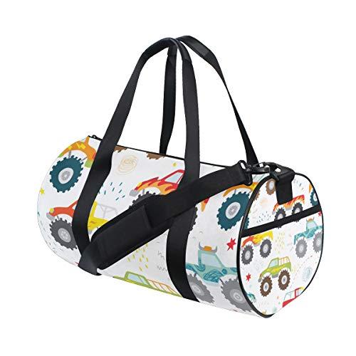 ZOMOY Sporttasche,Handgezeichnete Kinder Doodle Monster Truck,Neue Druckzylinder Sporttasche Fitness Taschen Reisetasche Gepäck Leinwand Handtasche
