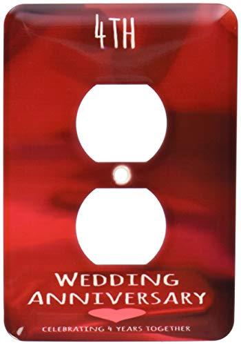 Einzelne Duplex-Wandplatte, Steckdosen-Wandplatte zum vierten Hochzeitstag, Geschenk, Seide, Feier 4 Jahre zusammen, 4 Jahre Jubiläen, 4 Jahre, Rot