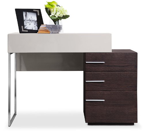 "VGWCZ503 Modrest Daytona 39"""" Vanity Dresser with 3 Drawers Grey Glass Top Stainless Steel Drawer Pulls and Legs in Brown Oak Finish"