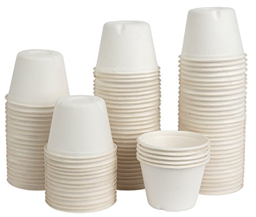 Brheez 2 oz Disposable Bagasse Fiber Souffle Cups | 100% Natural, Biodegradable & Compostable | Perfect for Condiments, Small Portion & Samples | Eco Friendly Paper Alternative | White, Pack of 200