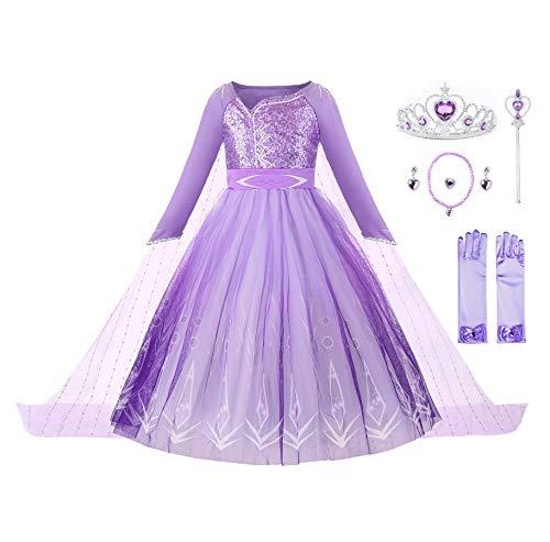 JerrisApparel Niña Princesa Disfraz Nieve Fiesta Navidad Carnaval Cosplay Vestido (8 años, Morado con Accesorios)