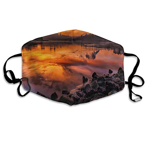 USA Missouri Kansas City Scenery of A Sunset Lake Nature Camping Themed Art Photo Printing Mouth Cover voor volwassenen