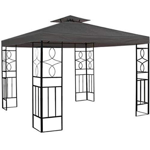 Smartweb Pavillondach 3x3m Anthrazit Ersatzdach Wasserabweisend Dach für Pavillion mit Kamindach Grau