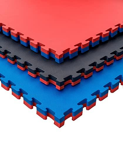 Esterilla puzzle goma espuma para suelo de gimnasio y fitness, pack tatami puzzle 100 x 100 x 4 cm , suelo goma EVA para artes marciales, tatami extensible (16 unidades (16 m²), Rojo/Negro)
