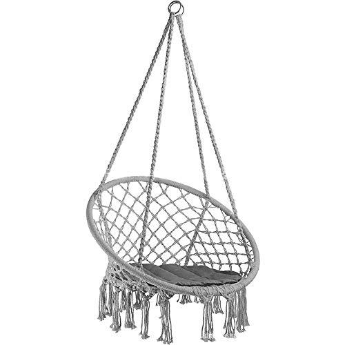 TYX-SS Patio hanging hanging chair, leisure woven tassel hanging basket, garden outdoor swing indoor balcony living room hammock,Gray