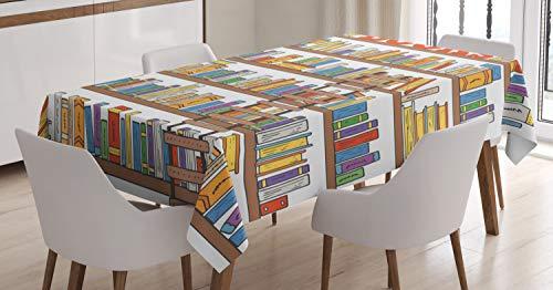 ABAKUHAUS Moderno Mantele, Biblioteca de la Escuela de Escalera, Resistente al Agua Apto Uso Exterior e Interior No Destiñen, 140 x 200 cm, Multicolor