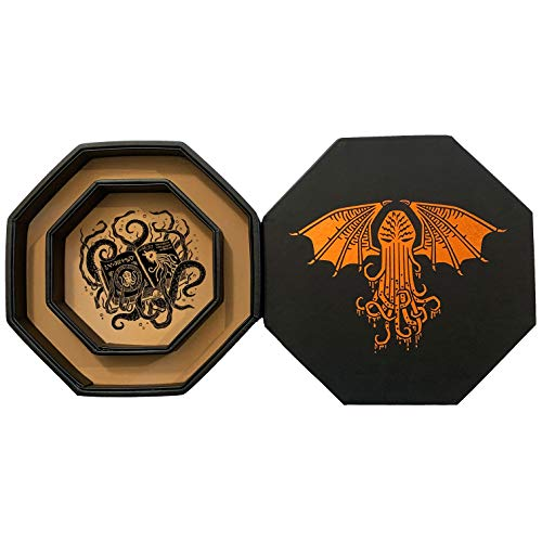 Fantasydice - thulhu Tome- Chromatic - Dice Storage and Rolling Tray - Octagon da 20 cm con Lid and Dice Staging Area- Holds 5 set (7 Dice Set Standard) per tutti i tablet RPG