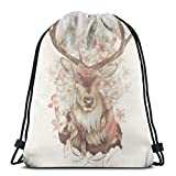 Yuanmeiju Stag of My Dreams Shoulder Bolsa con cordón Backpack String Bags School Rucksack Gym Sport Bag Lightweight