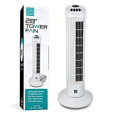 Nyxi Tower Fan, 120 Minutes Timer with Auto Power Off, 3 Wind Modes with Oscillation, Quiet Operation, 70cm High (White)