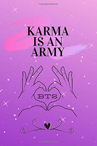 KARMA is an ARMY BTS: 6x9 150 Page Composition Notebook, White Paper, Soft Cover, Matte Finish