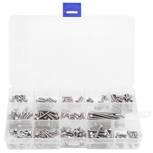 Kit de Tornillos RC de 205 Piezas, Tornillo de Metal Plano/Redondo/Cabeza de Copa, reparación de Tornillos hexagonales, Ajuste de Repuesto para Coche de Control Remoto Traxxas Slash 4x4