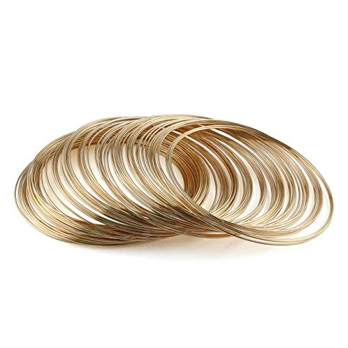 E-outstanding Jewelry Wire 100 Loop KC Gold Memory Steel Beading Wire for Jewelry Making Wrapping Stones Necklaces and DIY Cable Wire Bracelet