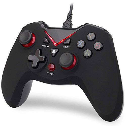 Gamepad Cable portátil Controlador de Juegos PC Ordenador Android Teléfono USB TV Win7 / 10 Controlador de Juegos Controlador Gamepad (Color : Red (Swivel+Handle Bag))