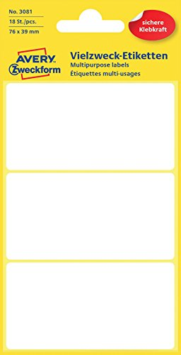 Avery Zweckform 3081 Haushaltsetiketten selbstklebend (76 x 39 mm, 18 Aufkleber auf 6 Bogen, Vielzweck-Etiketten für Haushalt, Schule und Büro zum Beschriften und Kennzeichnen) blanko, weiß