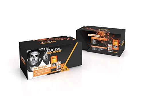 L´Oreal Men Expert Kit Energía, incluye Neceser, Gel de Ducha Hydra Energetic Taurina y Crema Hidratante Anti-Fatiga Hydra Energetic - Gel de Ducha 300 ml, Crema Hidratante 50 ml