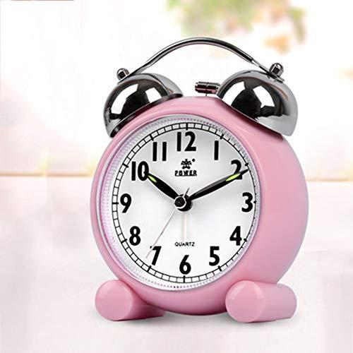 "XNZ Retro Analog Alarm Clock, 3"" Twin Bell Quartz Alarm Clocks, Non Ticking Silent Sweep Bedside Clock Loud Alarm Battery Operated with Nightlight"