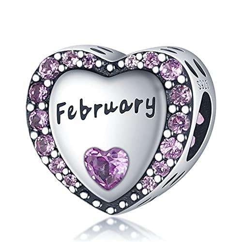 Plata de Ley 925 de Color Morado Oscuro, Cuentas en Forma de corazón de febrero, Pulsera Ajustada, Brazalete, Encanto de Mujer
