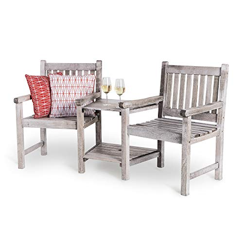 VonHaus Hardwood Companion Bench - 2 Seater Loveseat with Distressed Antique Finish – Solid Traditional Seat for Garden, Outdoor, Patio Furniture Set with Built-in Parasol Hole - Grey