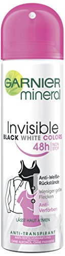 Garnier Mineral Invisible Black, White & Colors Deospray, 6er Pack (6 x 150 ml)