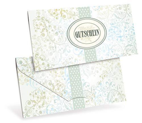 Verschiedene Gutscheinkarten (10 Stück) für Bastelbedarf, Kosmetik, Wellness - DIN lang Faltkarte verschließbar, blanko Vordruck zum Eintragen der Werte