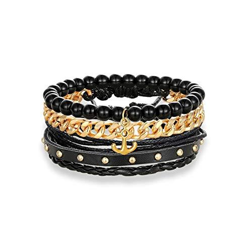 Weichuang - Juego de 3 pulseras de piel multicapa con cuentas para mujer, cadena de eslabones de acero inoxidable, para parejas de hombres (metal color: dorado anclaje)