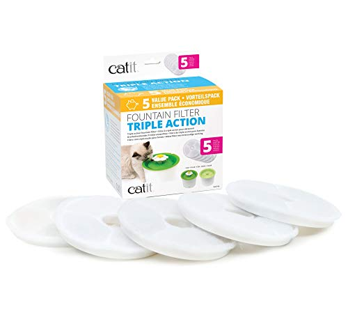 Catit Senses 2.0 Cat Water Fountain Filters, Cat Water Fountain, 5 Pack